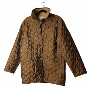 VTG Carlisle Brown/Gold Quilted Teddy Coat Sz8